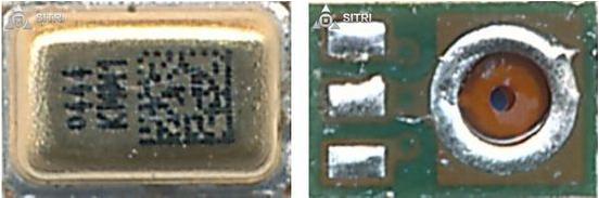 早前推测的惯性组合传感器为Invensense的产品,最终被证实使用了ST的6轴惯性组合传感器产品。这颗惯性组合传感器位于Apple Watch 主板的左上角,并没有与其他的芯片一起被放入整个系统级封装,这使得我们能够将这颗传感器先于其他芯片取下并进行分析。这颗惯性组合产品使用了3mm x 3mm x 0.